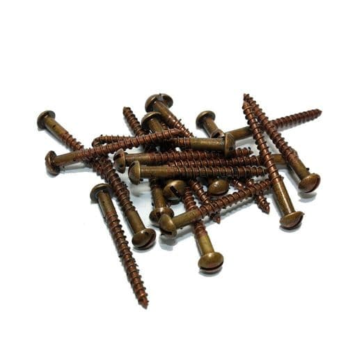 "1½"" x 6g Slotted Round Head Solid Brass Woodscrews Antique Finish Packs of 20"